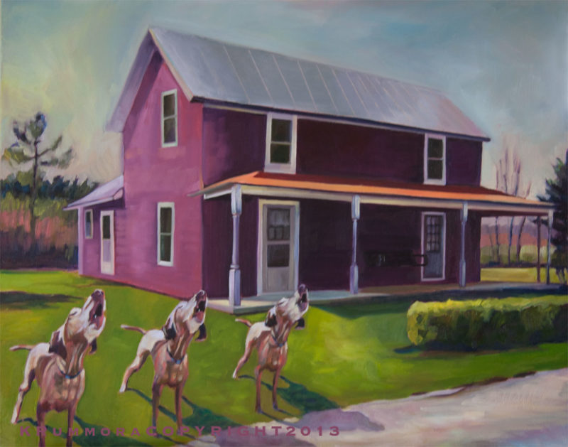 Three Howling Dogs & Purple House